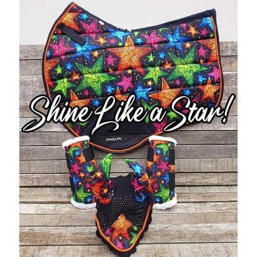 Funky Fit Equestrian Saddle Cloth, Fly Veil & Brushing Boot Set, Shine Like a Star