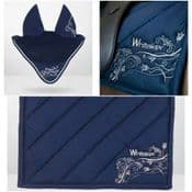 John Whitaker Eldwick Saddle Cloth and Fly Veil Set, Navy, Full - 30% OFF RRP