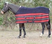 John Whitaker Striped Fleece Rug, Navy/Red, 5'6