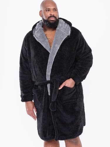 D555 HOODED DRESSING GOWN - BLACK