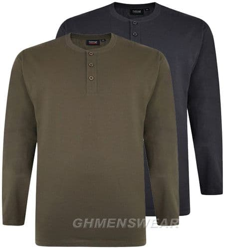 ESPIONAGE LONG SLEEVED GRANDAD COLLAR T SHIRT