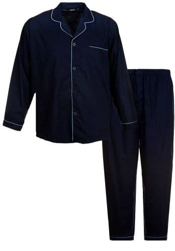ESPIONAGE TRADITIONAL PLAIN PYJAMA SET - NAVY