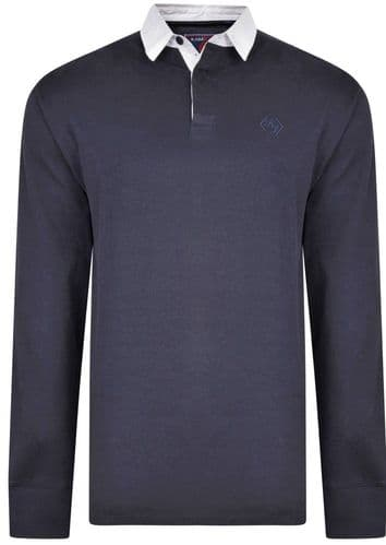 KAM LONG SLEEVED RUGBY POLO  SHIRT - NAVY