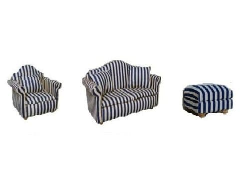 Lounge blue strip sofa, chair and foot stool