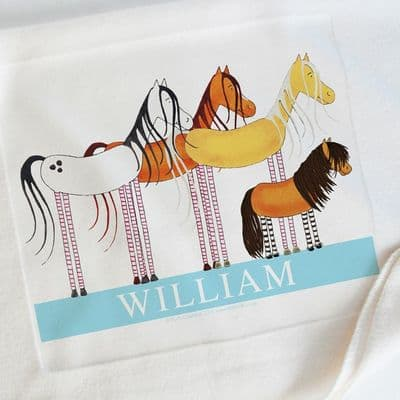 Personalised Cuddly Fleece Baby Blankets - Pony Friends Blue