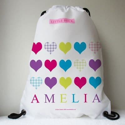 Personalised Drawstring Bag - Love Hearts