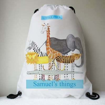 Personalised Drawstring Bag - Safari Friends