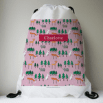 Personalised Drawstring Bag - Winter Woodland Friends in Pink