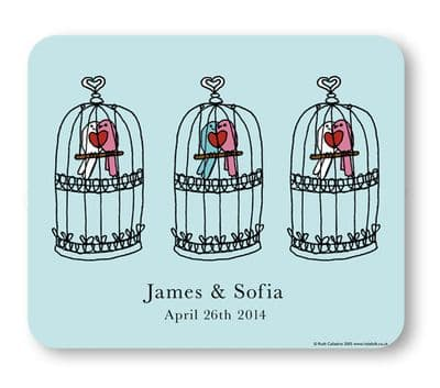 Personalised Placemat & Coaster Gift Set - Love Birds & Birdcage