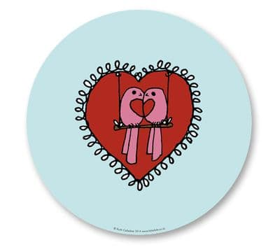 Placemat & Coaster Gift Set - Love Birds & Heart in Blue