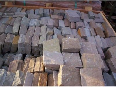 9 m2 Full crate Raj Green Indian Sandstone Paving  Cobbles  approx 20 x 10 cm  only £ 329.99