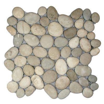 Asian Tan Natural Stone Pebble Mosaic Tiles on mesh for Bathrooms etc