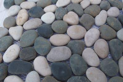 Beige & Black River Stone Pebble Tiles on Mesh