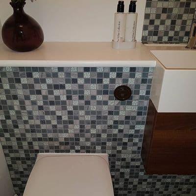 Carrara Grey Marble  & Glass Mosaic Tile