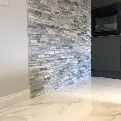 Carrara Grey & White Natural Marble split Face Mosaics
