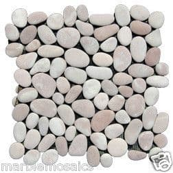 Coral /Pink & White Natural River Stone Pebble Mosaic Tiles for walls & floors