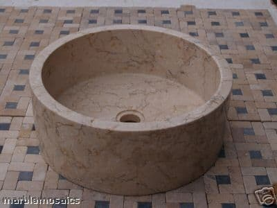 Cream Natural stone  Marble wash basin 40cm  drum sink perfect for the bathroom