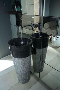 Free Standing Black Marble Pedestal Sink  Bathroom 90 cm x 40 cm ( Cono Model )