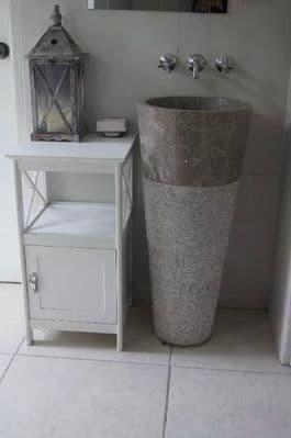 Free Standing Grey Marble Pedestal Sink  Bathroom 90 cm x 40 cm ( Cono Model )