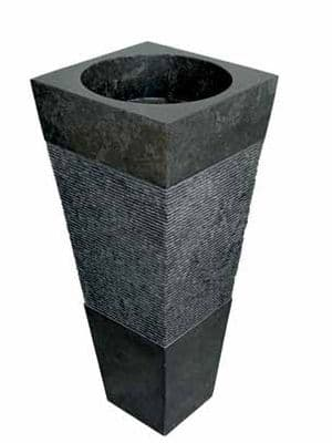 Free Standing Nero / Black Marble Bathroom Basin 90 cm x 40 cm Pyramid model.