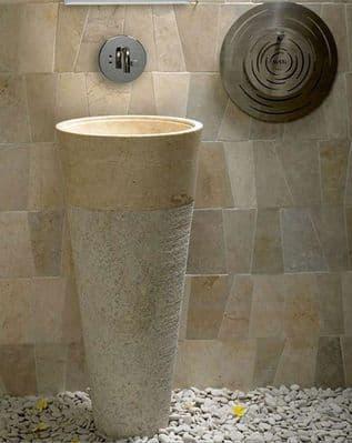 Free Standing Pedestal Sink Cream Marble Bathroom 90 cm x 40 cm ( Cono Model )