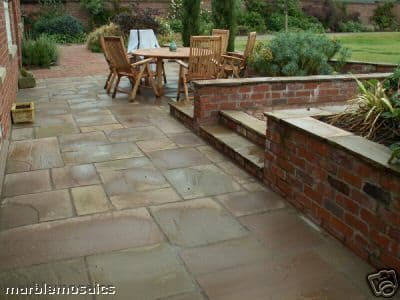 Full Crate  19 m2 Calibrated Autumn Brown Indian Sandstone Paving Patio Packs