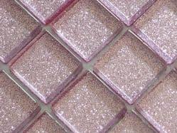 GLITTER LIGHT PINK GLASS MOSAIC TILES ( V04)