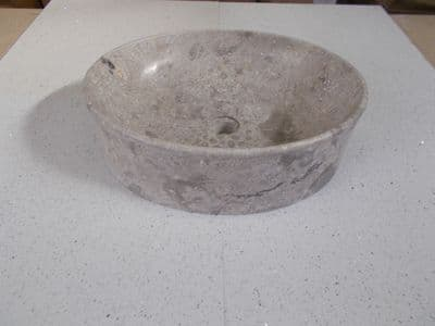 Grey Marble Oval Honed Stone Sink approx 50 x 40 x 16 cm