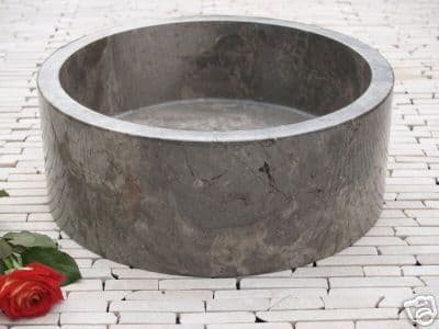 Grey Marble Washbasin Drum Sink 40 cm perfect for bathrooms