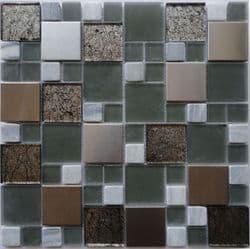 Metallic Modular, Metal Stone & Glass Mosaic (CP1320) Tile