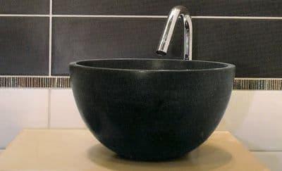 Mini  Honed Basalt Cloakroom Stone Washbasin 26 cm x 13 cm