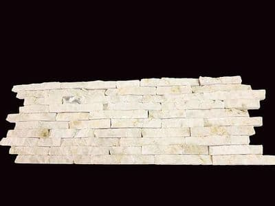 Sample Split Face Mini Mosaic Tile Ledge Stone White / Cream