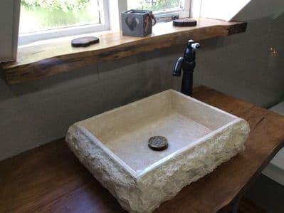 Potenza Large Rectangular Cream  Marble Washbasin  50 cm x 40 cm