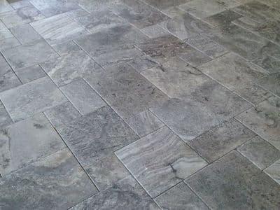 Premium Silver Travertine Tumbled &  Brushed Modular Pattern Set Tiles only £ 33.99 per m2