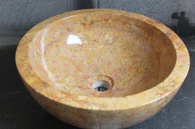 Red Marble 40 cm Round Stone Sink ( wa002 )
