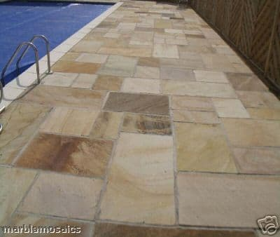 Sample Calibrated Mint Fossil Indian Sandstone Paving Patio Slab