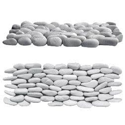 Sample White Standing Natural Pebble Split Face River Stone Mosaic Tiles for feature walls etc