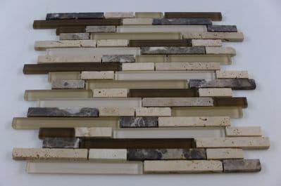 Travertine & Glass Brick Mosaic (GD0019)