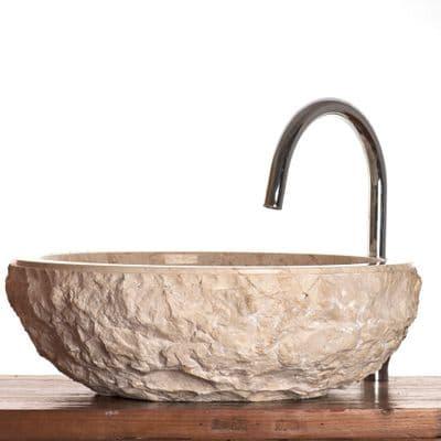 Verona  / Scrula Cream  Marble Stone Vessel Sink 45 cm ( large model )