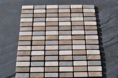White , Cappucino & Choco Brick Tumbled Marble Mosaic Stone  Tiles 1 m2