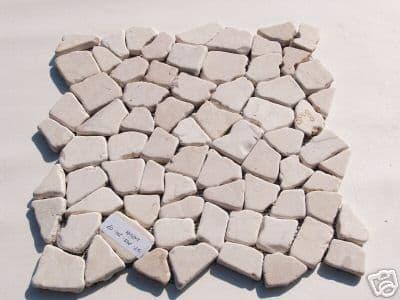 White / Cream  Bathroom & Shower ,Crazy Paving Style, Interlocking Marble Mosaic Tile