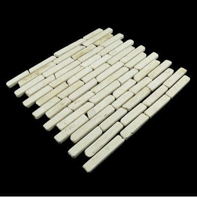 White / Cream Brickbone Tumbled  Marble Mosaic tile £ 31.99 per m2