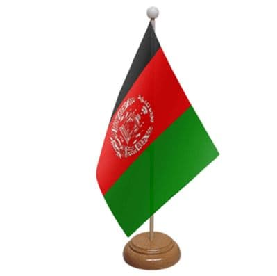 AFGHANISTAN - TABLE FLAG WITH WOODEN BASE