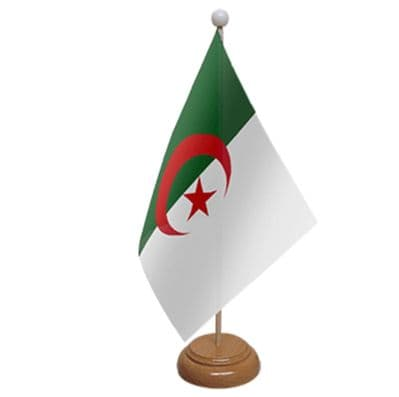 ALGERIA - TABLE FLAG WITH WOODEN BASE