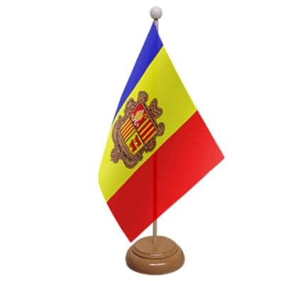 ANDORRA - TABLE FLAG WITH WOODEN BASE