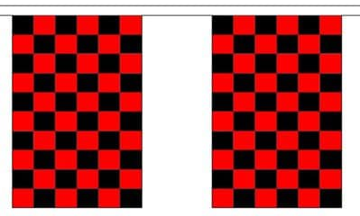 BLACK AND RED CHECKERED BUNTING - 3 METRES 10 FLAGS