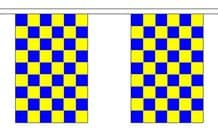 BLUE & YELLOW CHECKERED BUNTING - 3 METRES 10 FLAGS