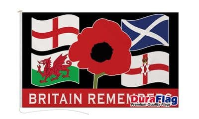 BRITAIN REMEMBERS  DURAFLAG WITH CLIPS  150cm x 90cm