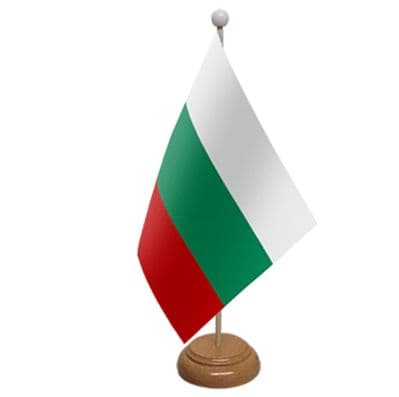 BULGARIA - TABLE FLAG WITH WOODEN BASE