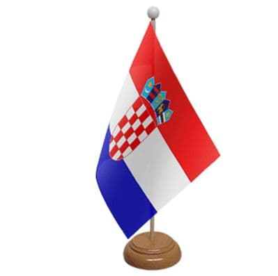 CROATIA - TABLE FLAG WITH WOODEN BASE